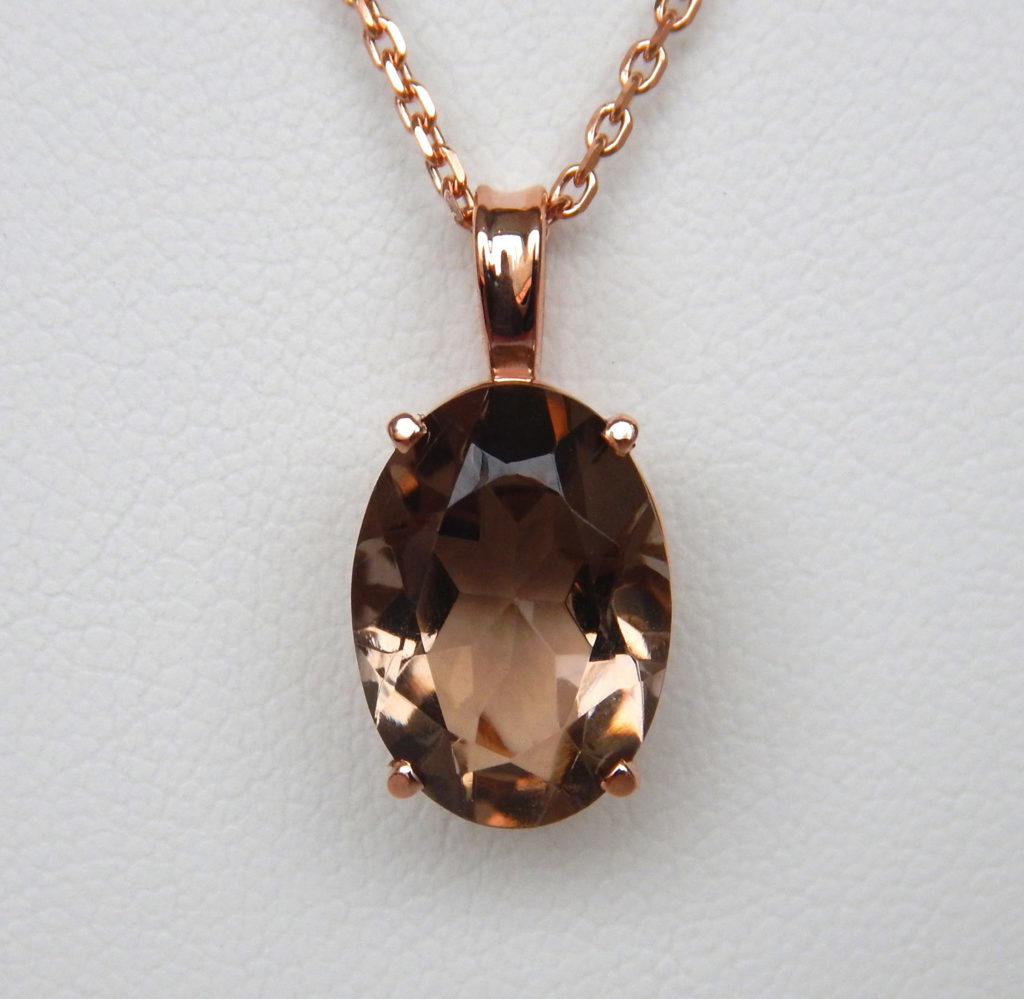 Rose gold smoky quartz pendant kloiber jewelers rose gold smoky quartz pendant mozeypictures Image collections