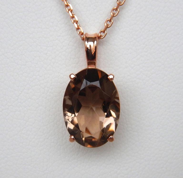 rose gold smoky quartz pendant