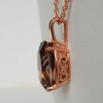 side view of rose gold smoky quartz pendant