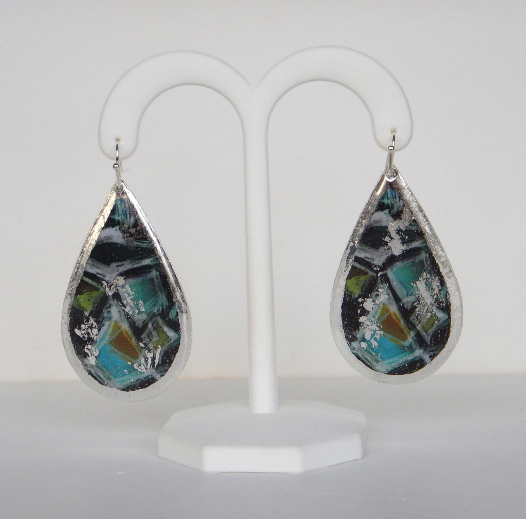 sterling silver colorful dangle earrings
