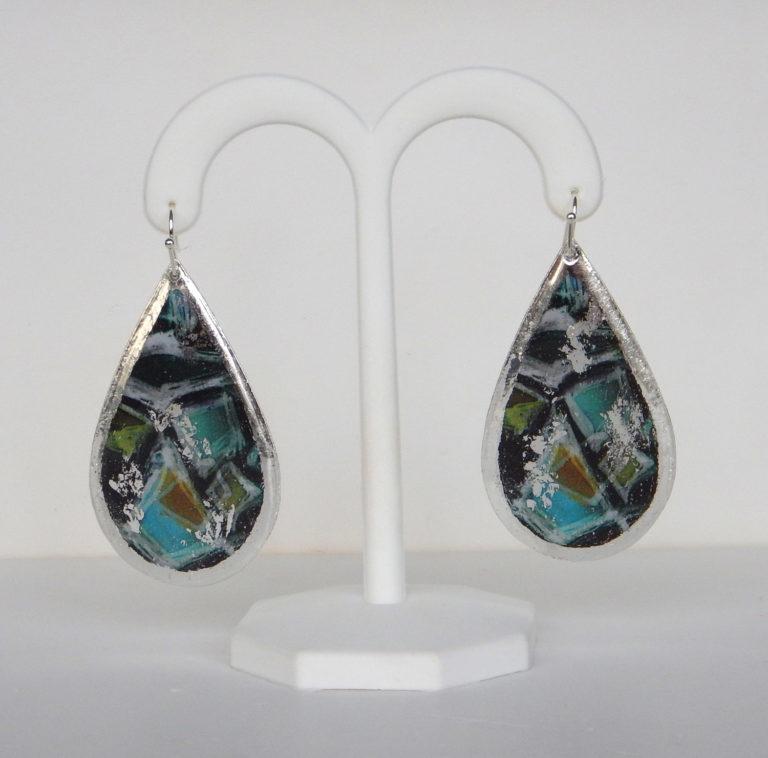 sterling silver colorful dangle earrings