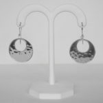 sterling silver hammered hoop dangle hoop earrings
