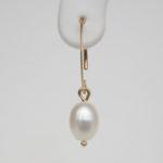 yellow gold freshwater pearl drop earring