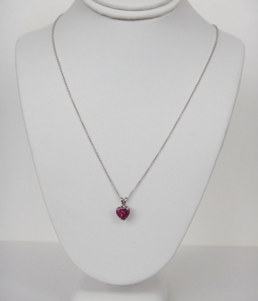 garnet heart necklace white gold