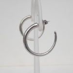 side view of sterling silver hoop earrings