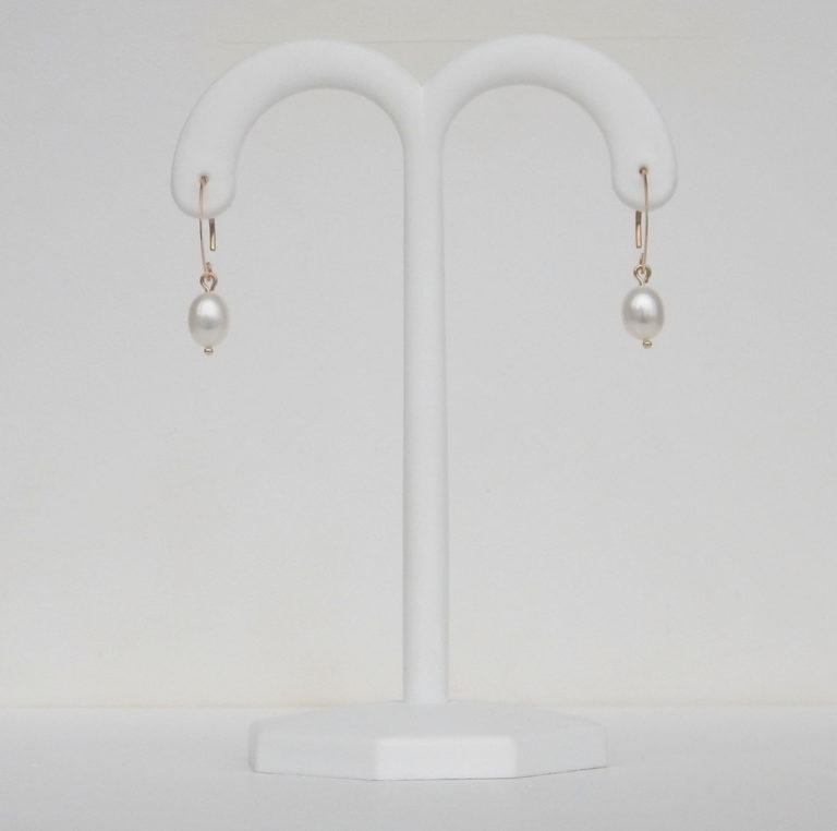 yellow gold freshwater pearl drop earrings