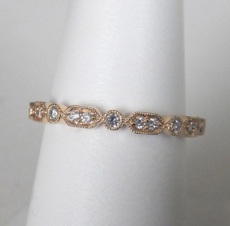 yellow gold milgrain edged diamond band
