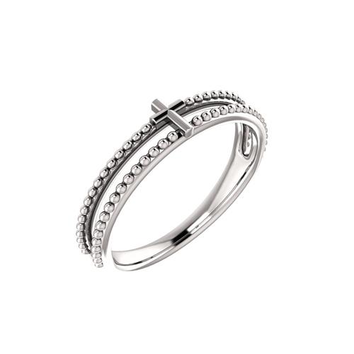 milgrain cross stacking ring