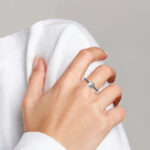 sterling silver pearl ring on finger