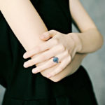 sterling silver antique style turquoise ring on model