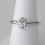 sterling silver oval white topaz ring