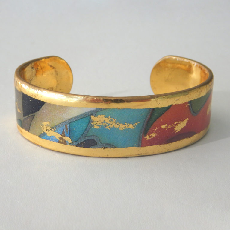 yellow gold colorful cuff bracelet