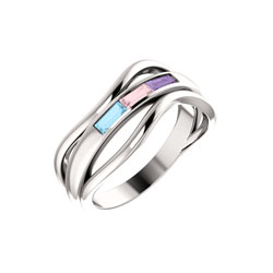 three stone family ring
