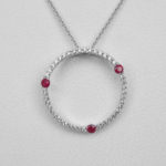 ruby and diamond circle pendant white gold