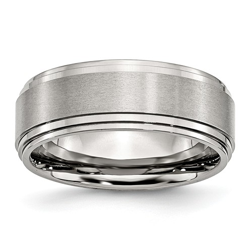 8mm stainless steel ridged edge wedding band