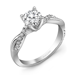 twisted diamond accent engagement ring