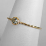 yellow gold aquamarine stacking ring (large)