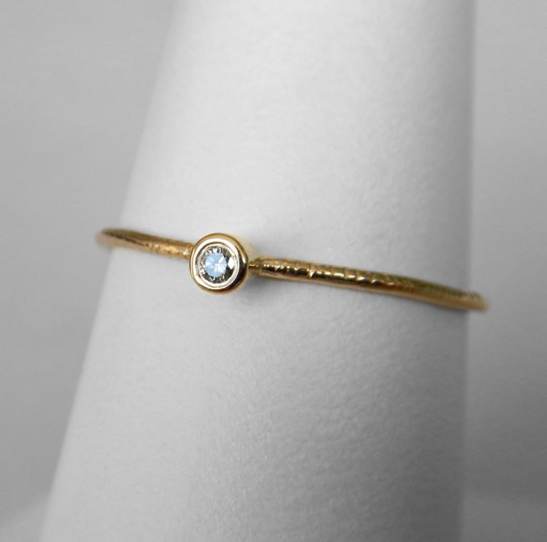 yellow gold aquamarine stacking ring (small)