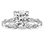 diamond accented milgrain edged engagement ring