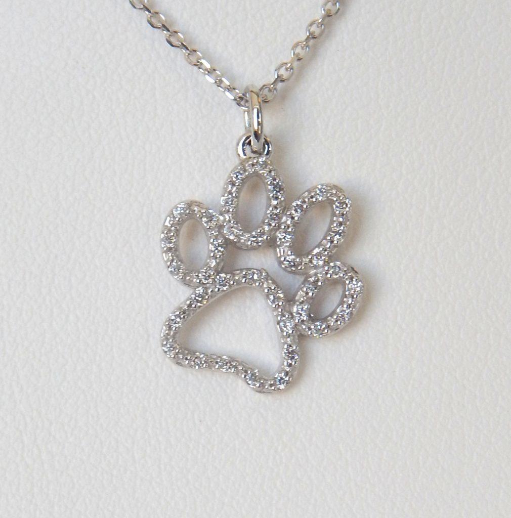 diamond paw print pendant