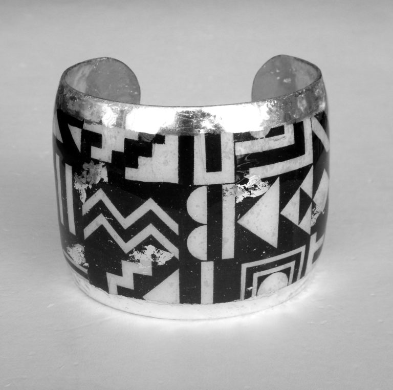 geometry black and white cuff bracelet