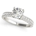 milgrain edged diamond engagement ring