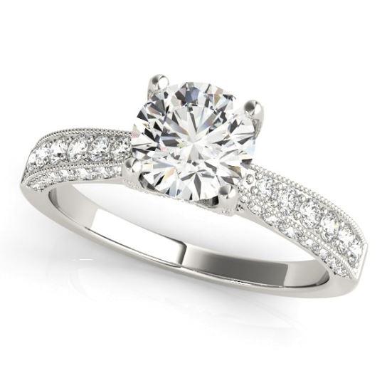 milgrain edged diamond engagement ring