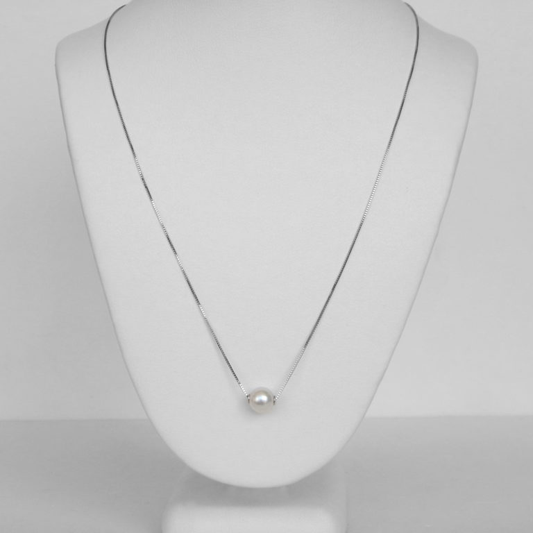 single pearl necklace white gold