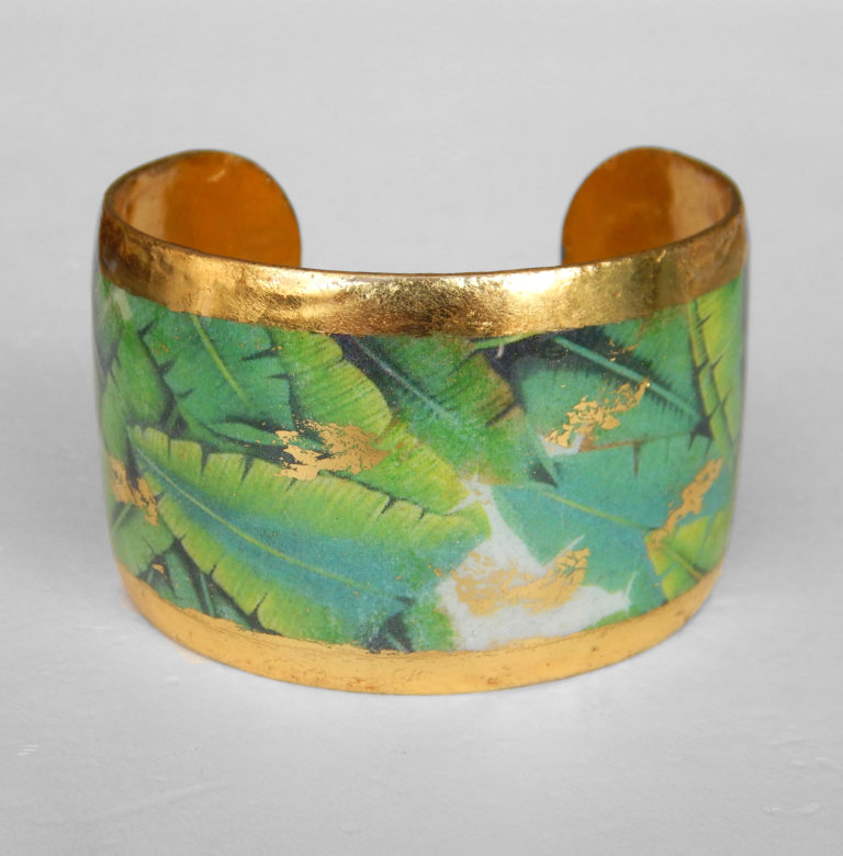 green and yellow cuff bracelet yellow gold