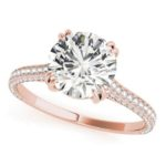 rose gold diamond accented engagement ring