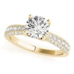 yellow gold milgrain edged diamond engagement ring
