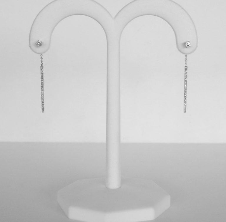 white gold diamond straight bar dangle earrings
