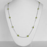 white gold peridot station necklace