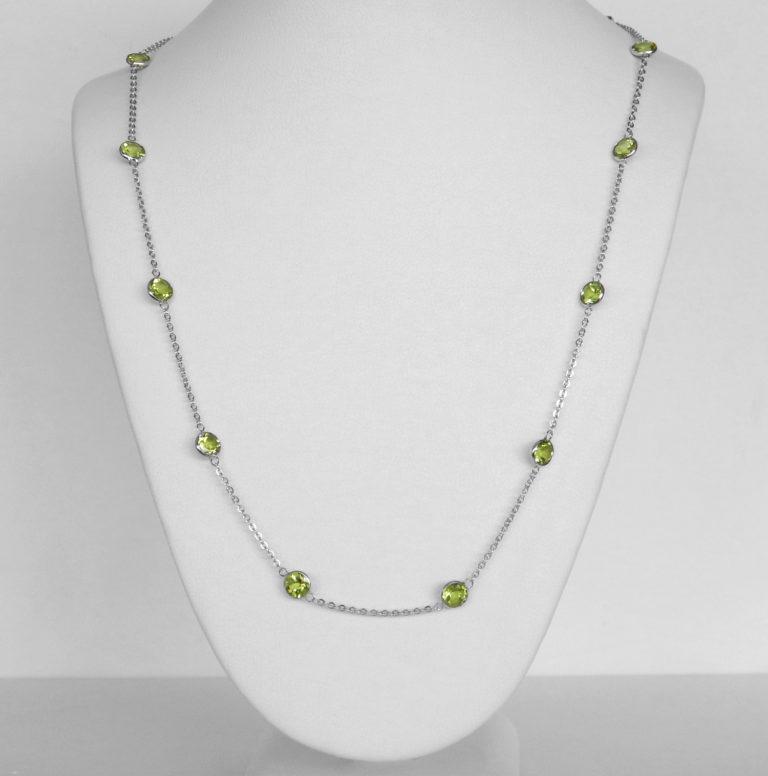 white gold peridot station necklace