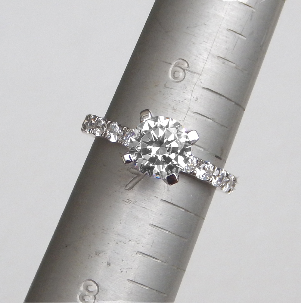 engagement ring on ring sizing mandrel