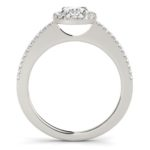 side view of diamond halo engagement ring