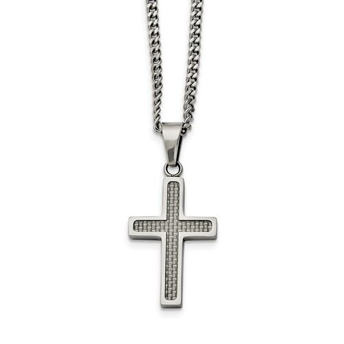 Stainless Steel Polished With Grey Carbon Fiber Inlay Small Cross Necklace
