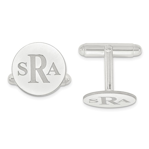 monogrammed cuff links sterling silver