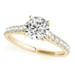 yellow gold diamond accented engagement ring
