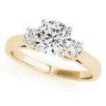 yellow gold three stone diamond engagement ring
