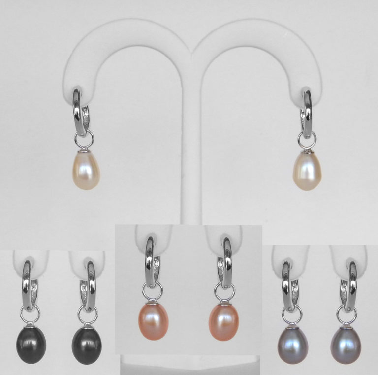 freshwater pearl dangle earrings with 4 different pairs of pearls