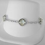 sterling silver green quartz bracelet
