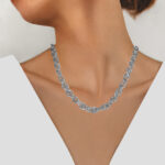 thick sterling silver necklace chain on model