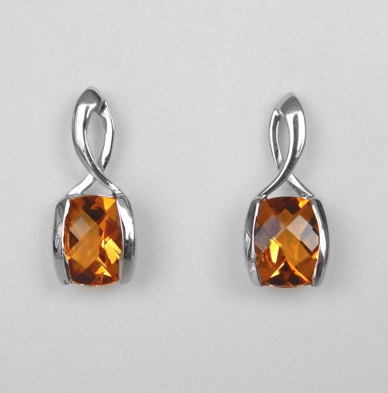 white gold citrine dangle earrings