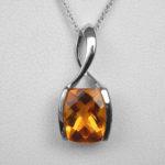 white gold citrine pendant