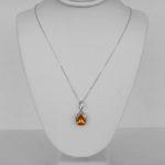 white gold citrine pendant on chain