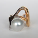 two tone gold south sea pearl contemporary ring