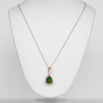 two tone gold ammolite and diamond necklace
