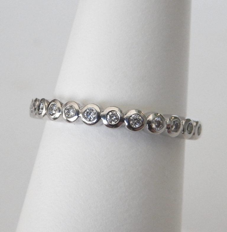 white gold bezel set diamond band