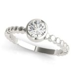 white gold bezel set diamond engagement ring
